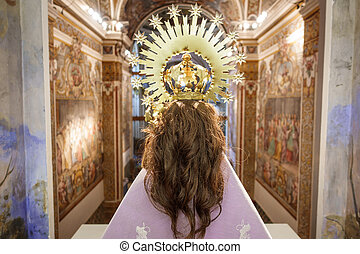 Rear view of virgin in church with hair