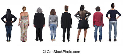 rear view of women on white background