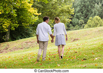 young couple walking hand in hand - rear view of young...
