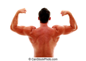 Rear view of young muscular man showing his biceps