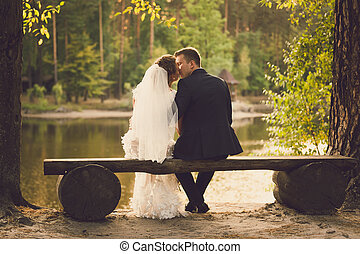 Rear view on newlyweds kissing on bench at river
