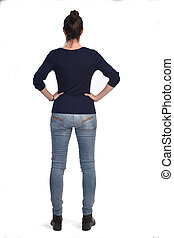 rear view portrait of a woman hands on the hips