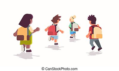 rear view school children group with backpacks running back...