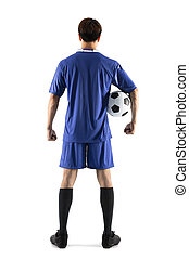 rear view soccer football player young man standing