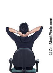 Rear View, Tired business woman stretching - Rear View,...