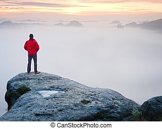 Rear view to traveler stand alone on cliff with mist bellow ...