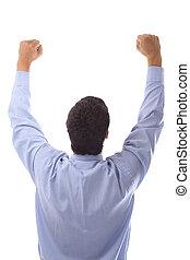 happy businessman raising his hands up