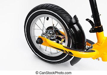 rear wheel of balance bike, close-up view