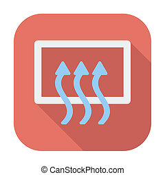 Rear window defrost. Single flat color icon. Vector...