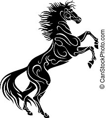 standing horse, vector silhouette, black over white, stylized image