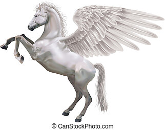 An illustration of the mythological horse Pegasus rearing up on its hid legs.