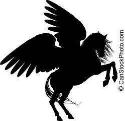 Rearing Pegasus Silhouette - Pegasus mythical winged horse...