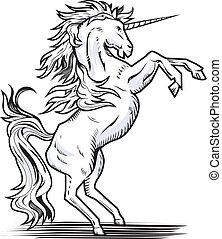 Rearing Unicorn - White rearing unicorn