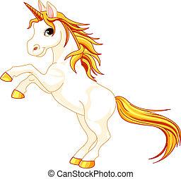 Rearing up unicorn - Beautiful illustration of rearing up...