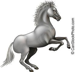 Rearing white horse