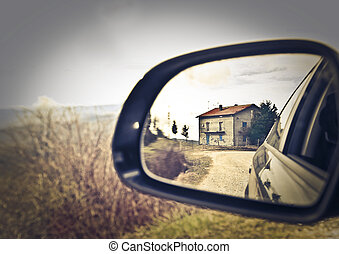 Rearview mirror and city