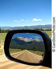 Rearview - Mount Princeton reflected in a side view mirror ...