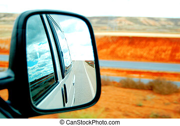 rearview on the route