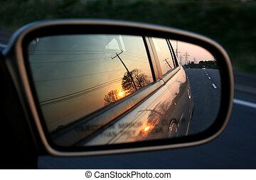 rearviewmirror, solnedgång
