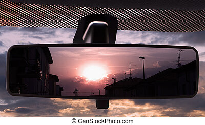 rearviewmirror, tramonto