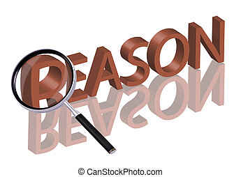 reason search - Magnifying glass enlarging part of red 3D...