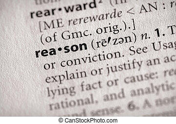 "Reason - Selective focus on the word \""reason\\\"". Many..."