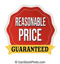 Reasonable price guaranteed label or sticker