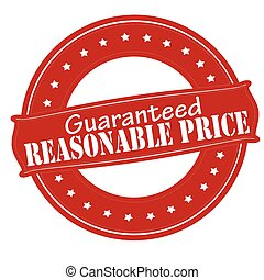 Rubber stamp with text reasonable price inside, vector illustration