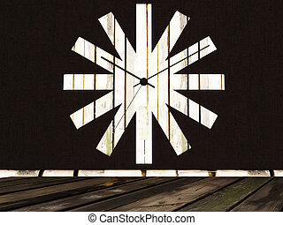 ?reative wooden clock on the wall, rendering