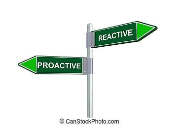 reattivo, 3d, proactive, segno strada