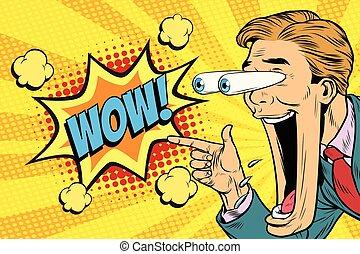 reazione, occhi, iper, faccia, grande, wow, wid, espressivo, cartone animato, uomo