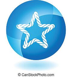 reb, blå, transparent, ikon