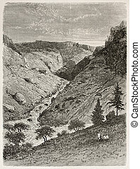 Reb gorge - Reb river gorge old view. Created by Ciceri...