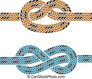 reb, klatre, vektor, knude, symboler