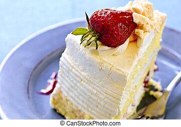 rebanada, de, fresa, merengue, pastel