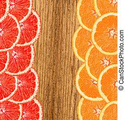 rebanada, de madera, toronja, plano de fondo, naranja, fresco