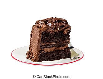 rebanada, de, oscuridad, rico, torta de chocolate