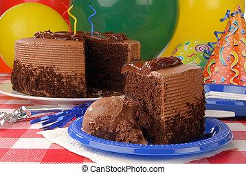 rebanada, de, torta de cumpleaños