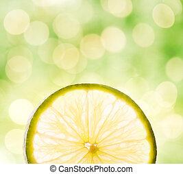 rebanada del limón, encima, resumen, fondo velado