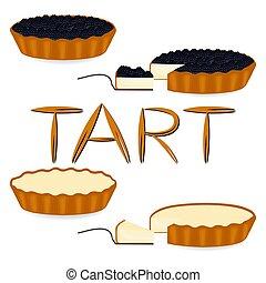 rebanada, ilustración, pastel, vector, bakery., casero, ...