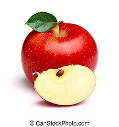 rebanada, jugoso, manzana