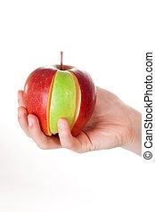 rebanada, manzana, combinación, acción, fondo verde, blanco,...