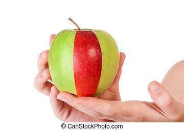 rebanada, manzana verde, combinación, rojo