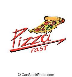 rebanada, palabras, rápido, plano de fondo, blanco, pizza