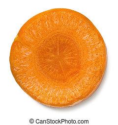rebanada, zanahoria, aislado