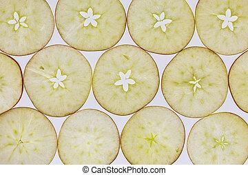rebanadas, backlit, manzana