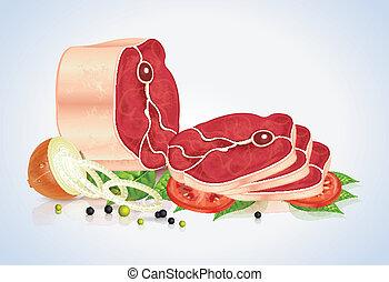 rebanadas, de, carne, con, vegetales, y