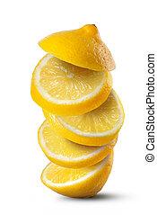 rebanadas de limón, aislado, plano de fondo, caer, blanco