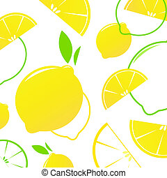 rebanadas de limón, fruta, fresco, -, aislado, white., vector, fondo., estilizado
