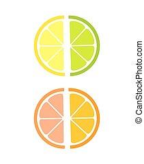 rebanadas, fruta cítrica, iconos